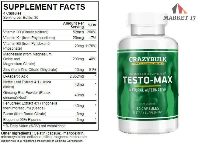 Testo-Max Supplement Facts