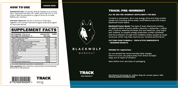 Blackwolf TRACK ingredients